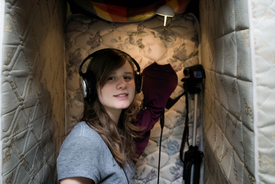 Recording booth with matresses