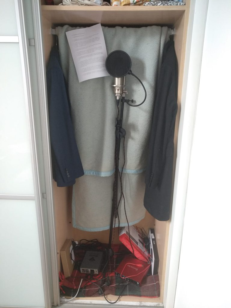 Recording booth in a closet